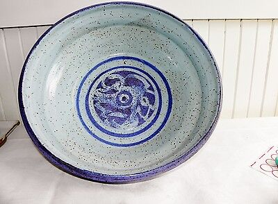 """Vintage Hand Thrown Studio Pottery Dough Mixing Bowl Signed Blue Large 13.5"""""""