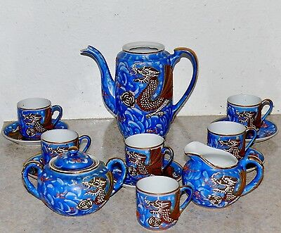 14pc Antique Japanese Dragonware Tea Teapot Set Cobalt Blue Moriage Signed Japan