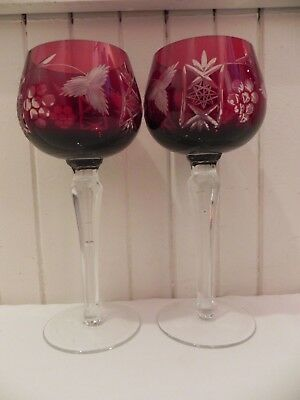 2 Bohemian Ruby Red Crystal Cut To Clear Wine Glass Goblet Hock
