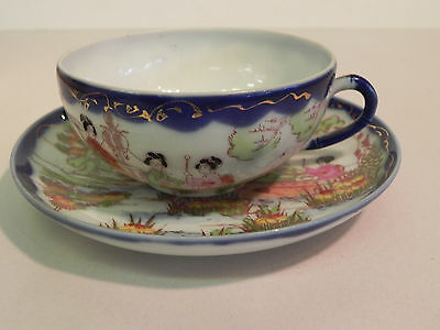 Antique Vtg Chinese Tea Cup and Saucer Cobalt Blue Geisha Girl Village Boat