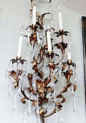"Antique 36"" Italian Crystal Tole Gold Gilt Wall Sconce Candelabra Electric 5 Arm"