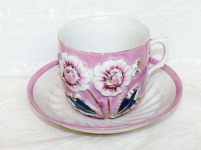 Antique Made in Germany Pink Iridescent 3D Flower Cup & Saucer Signed Porcelain