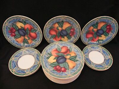 """Set Of 12 Victoria Beale Forbidden Fruit Salad Plates 7 3/4"""" and 4 Saucers 9024"""