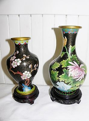 2 Vtg Chinese Cloisonne Brass Enamel Vases Peoples Republic of China on Stand