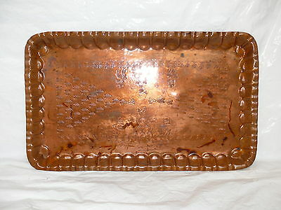 Vintage Egyptian Copper Tray Made in Egypt Hand Hammered Embossed Handicraft