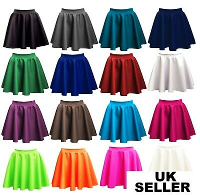 Ladies Girls Skirts Women's Belted Flared Plain Mini Skater Skirt UK Sizes*PnT