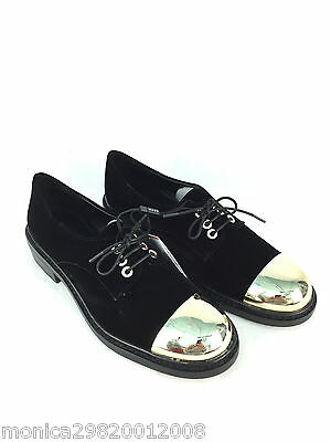 Zara Velvet Shoes With Gold Metal Toe Cap Size Uk5 Eur38 Us7.5