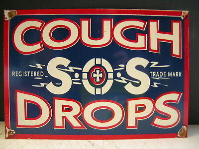 Sos Cough Drops Rustic Metal Sign Freepost Australia