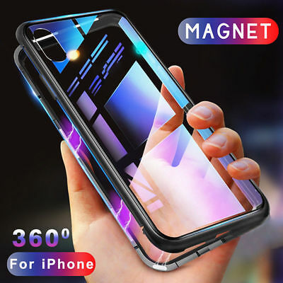 Magnetic Absorption Phone Case Metal Edge Cover for iPhone X 8 7 6S Plus