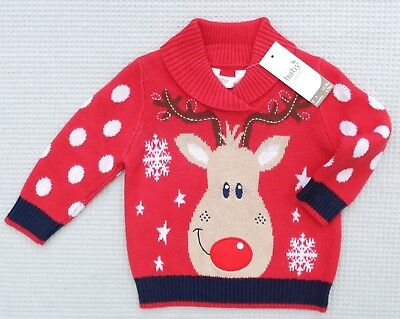 BNWT M&Co Baby Boys Cotton Knitted Christmas Rudolph Reindeer Jumper 0-3-6months