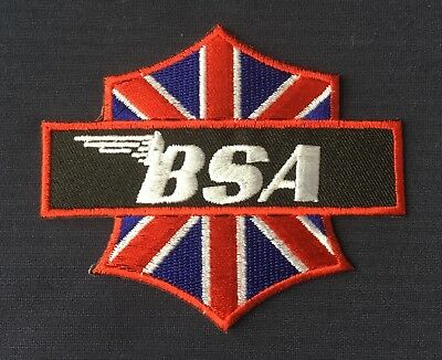 No1070 CLASSIC BSA ROCKET 3 CROSSED FLAGS MOTORCYCLE Iron //Sew On Patch