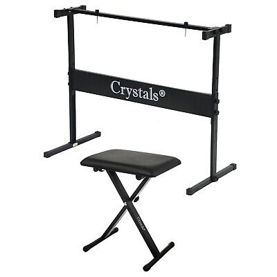 Height Adjustable Rectangular Frame Full Size Music Piano Keyboard Stand & Chair