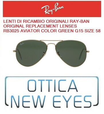 LENTI di Ricambio RAYBAN AVIATOR 3025 Ray Ban Replacement Lens GREEN G15 58mm