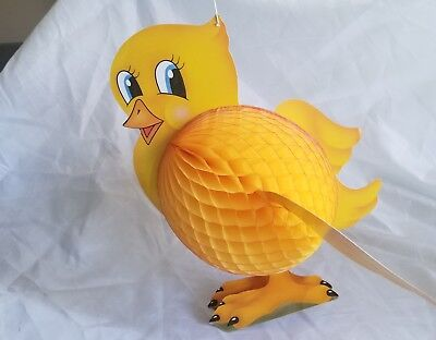 """4 Vintage Large Diecut Honeycomb Easter Chick Decoration 19"""" 3D Made In Denmark"""