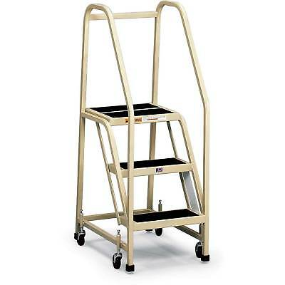 EGA F013 Office Ladder 3-Step, Rubber Surface, Gray, 450Lb. Capacity, Lot of 1
