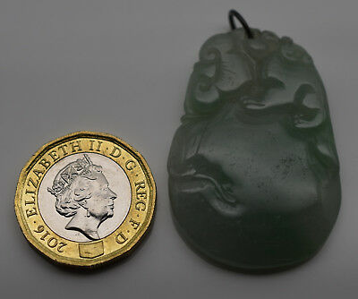 Chinese Natural Jadeite Pendant Large Hand Carved Jade Pendant  #Z32