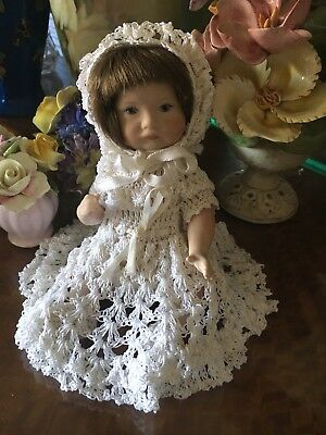 Adorable Little 19cm Vintage Bisque Doll Ceramic Jointed Silky Crochet Dress
