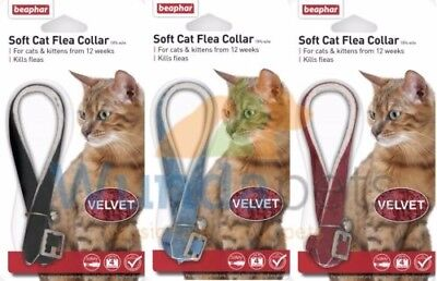 BEAPHAR VELVET SOFT CAT FLEA COLLAR 12 WEEK PROTECT 3 COLOURS WITH BELL / red