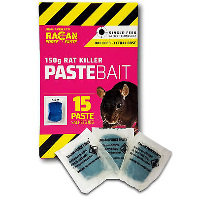 Racan 150g Single Take Brodifacoum Rat Killer Paste Bait - Lethal Under One Feed
