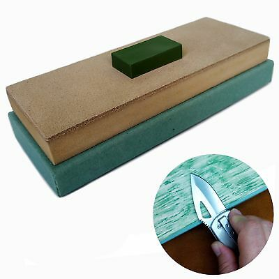 Leather Honing Strop Block with Green Compound | 3 inch by 8 inch | For