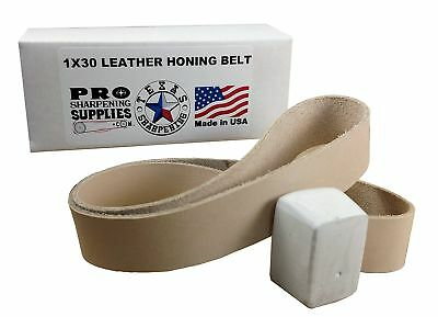 "1""x30"" Leather Honing Strop Belt - Buffing Compound Included - Pro Sharpening"