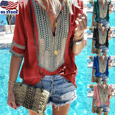 Womens Boho V Neck Long Sleeve Tops Blouse Autumn Ladies Casual Loose T Shirt US