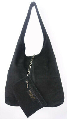 Women's Italian Genuine Real Suede Leather Slouch Ladies Shoulder bag Tote Bag