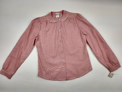 Girl's Vintage Chambray Pink Button Down Shirt Scallop Eyelet Collar Size 12