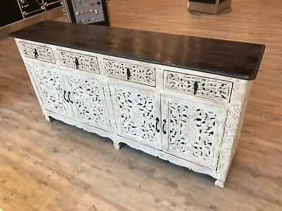 Indian Antique Style Hand carved white mango wood Decorative Sideboard
