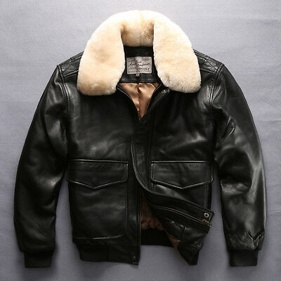 Avirex fly air force flight jacket fur collar genuine leather jacket Sale Price