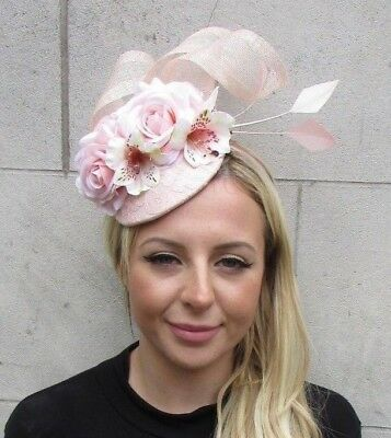 Light Blush Pink Nude Rose Flower Feather Hat Hair Fascinator Races Wedding 6307