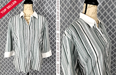 Woman's Very Nice *DCC MISSY* Blue & White Striped Button Down Career Top XL