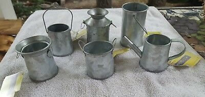 Lot of 6 Tin Metal Pails Water Milk Cans Miniature Doll House Fairy Garden NWT