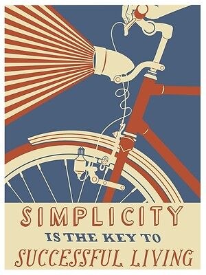 Simplicity Is The Key To Successful Living Bike Poster Vintage Wall Art Decor