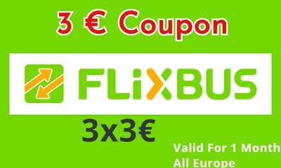 ➤ 3 x 3 € flixbus  crédits code  - Fast 1h SHIPPING - Discount bus