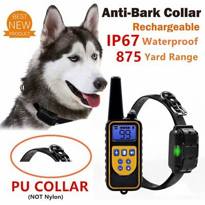 Rechargeable Remote Control Dog Anti-Bark Training Collar IP67 Waterproof AU