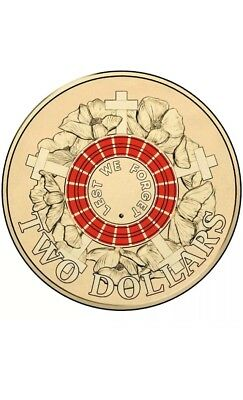 """2015 RED $2 Two Dollar Mint UNC ANZAC Day """" Lest We Forget """" Coin"""