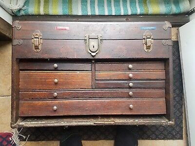 Vintage Antique 7 Drawer Machinist Wooden Chest with Yale Lock