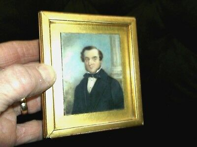 Rare Antique 19Th C Miniature Portrait Painting Of A Gentleman Gilded Wood Frame