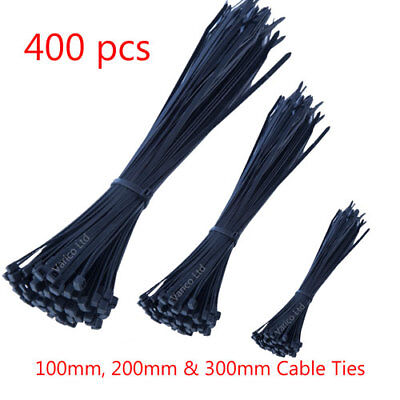 Assorted Black Cable Ties 100Mm / 200Mm / 300Mm Cable Tie Zip Tie Wraps 400Pcs