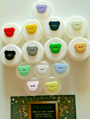 Novelty Bear Heads shape 2 hole buttons 15mm baby / children in 5 colours