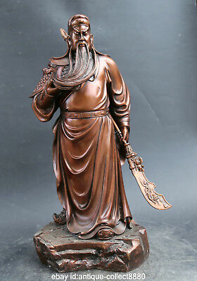 "22.0""Antique Chinese Red Bronze Guan Gong Yu Warrior God Hold Knife Sword Statue"