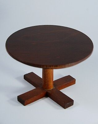 VTG Dollhouse miniature wood small round Dining TABLE pedestal display pre-owned