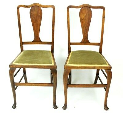 Pair of Antique Edwardian Walnut Dining Chairs - FREE Shipping [PL4708]