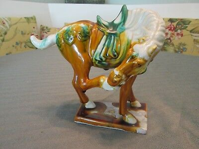 Unusual Antique Vintage Beautiful HORSE Clay Polychrome Figurine Old China Mark