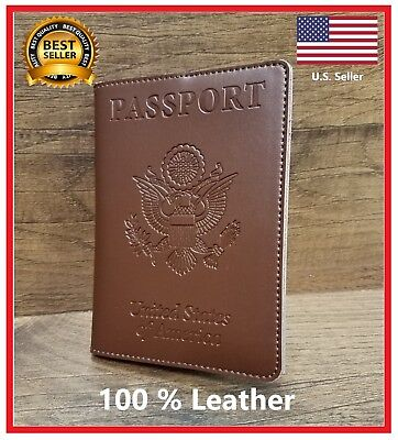 100% Leather United States Embossed Passport Wallet Cover US Seller