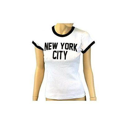 LADIES JOHN LENNON T-Shirt Womens Cap Sleeve New York City Slim Fit ... 202cc7bb95b5