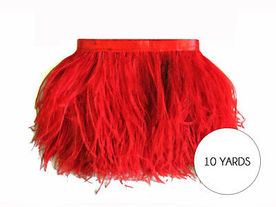 10 Yards - RED Ostrich Fringe Trim Wholesale Feather Carnival Costume Dress