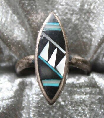 Native Style Inlaid Turquoise,Black & Shell Silver-tone Ring 1980s vint. size 8