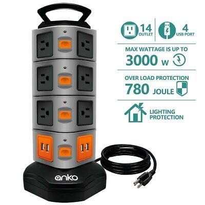 CRST 8 outlet power strip 2 USB,metal housing Heavy Duty 1800J surge protector